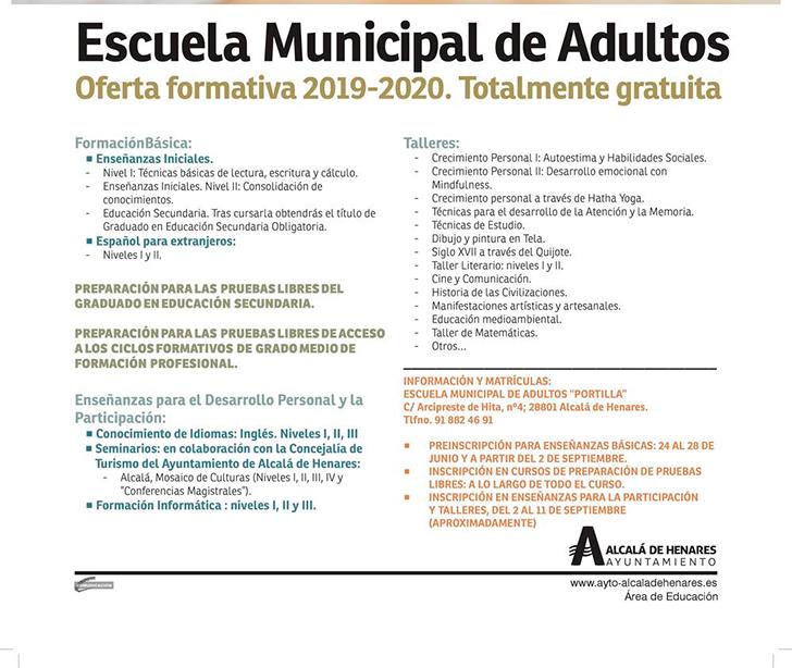 La Escuela Municipal De Adultos Abre Su Preinscripción Para